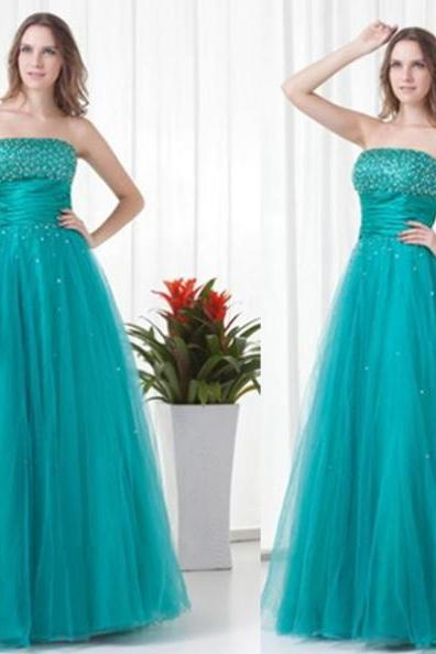 Prom Dresses 2017 A-Line Strapless Sleeveless Floor-Length Tulle