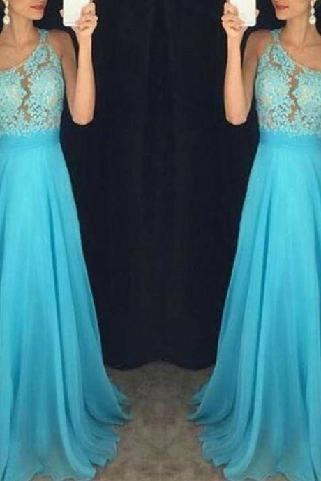 Blue Beading Appliques One Shoulder A-line Chiffon Prom Dresses 2017