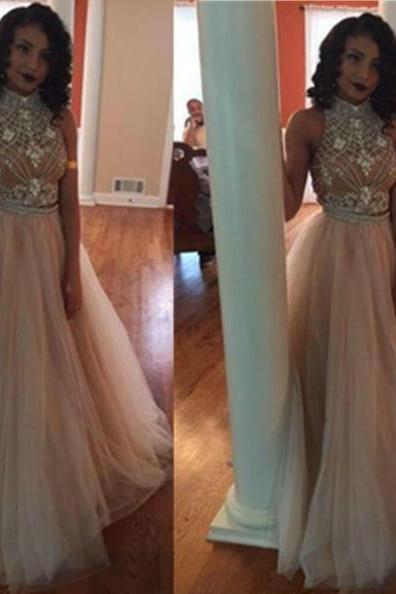 A-Line Halter Sleeveless Backless Floor-Length ChiffonProm Dresses 2017