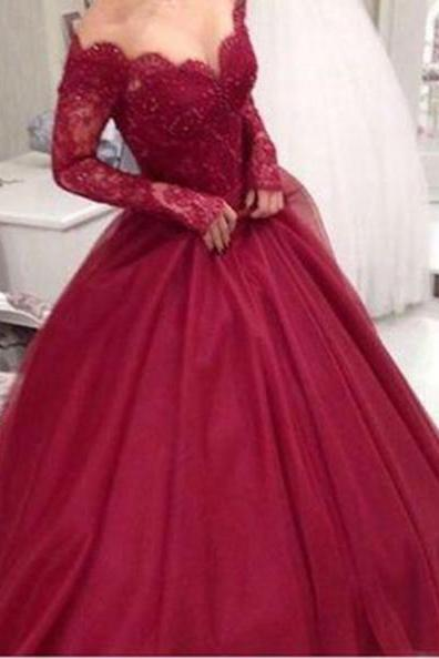 Red A-Line Long Sleeves Natural Lace Floor-Length Tulle Prom Dresses 2017