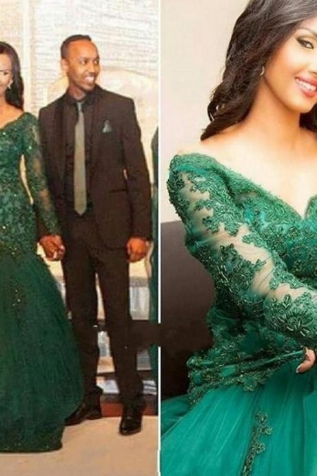 Green V-Neck Long Sleeves Appliques Floor-length Mermaid Tulle Prom Dresses 2017