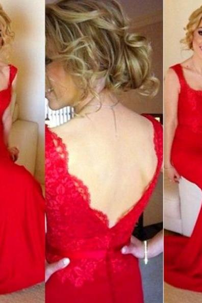 Red Straps Lace Spliced Trumpet/Mermaid Stretch Satin Prom Dresses 2017