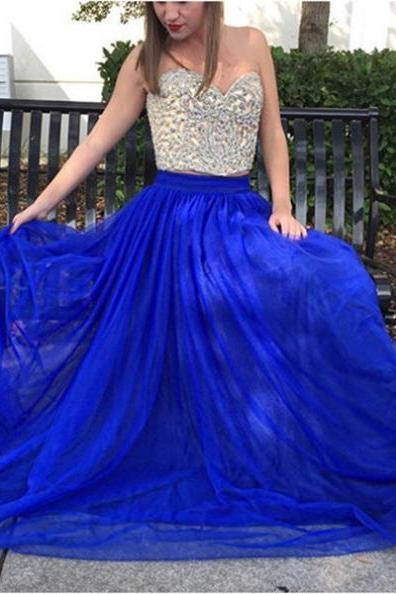 Blue Beading Tulle Two Pieces Prom Dresses 2017