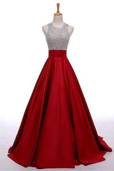 Red Sequins Floor-length A-line Satin Prom Dresses 2017