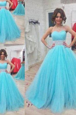 Blue Sweetheart Ball Gown Tulle Prom Dresses 2017