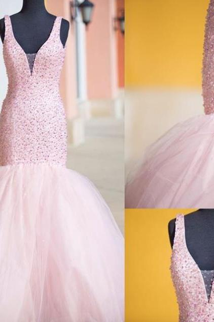 Beaded Embellished Plunge V Sleeveless Floor Length Tulle Mermaid Formal Dress, Prom Dress