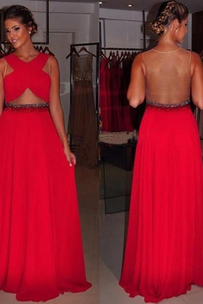 Red Criss-Cross Sheer Back A-line Chiffon Prom Dresses 2017