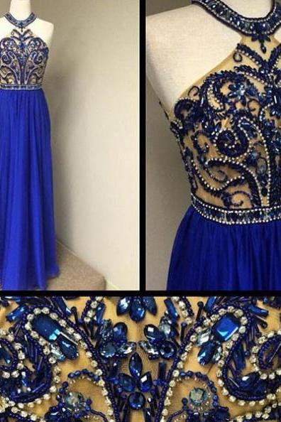 Blue Long A-line Beading Halter Chiffon Prom Dresses 2017