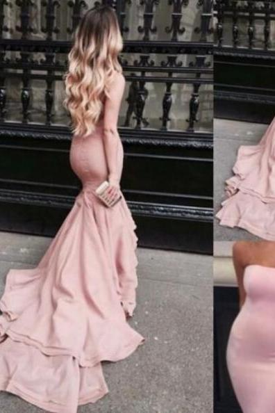 Pink Strapless Sweep Train Mermaid Prom Dresses 2017