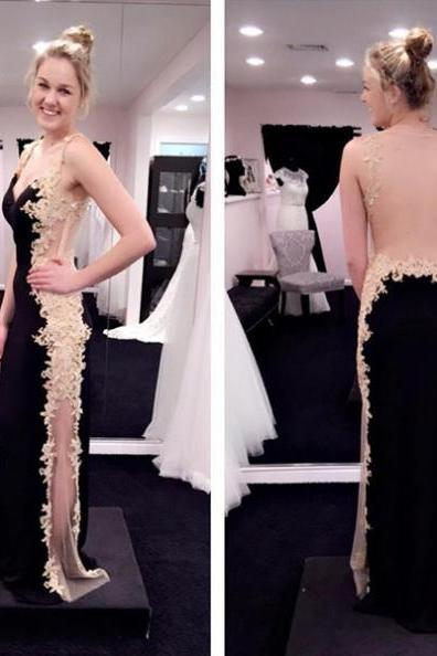 Black Appliques Sheer Back Satin Prom Dresses 2017