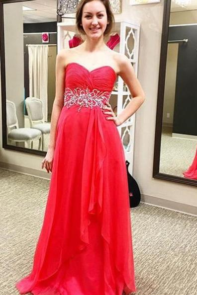 Red Prom Dresses 2017 Sweetheart Backless A-line Chiffon