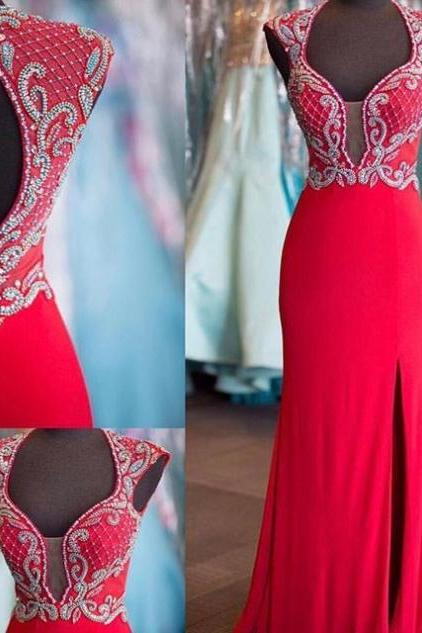 Red Beading Queen Anne Slit Prom Dresses 2017