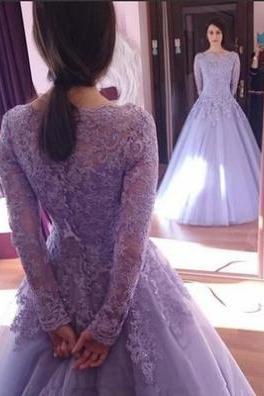 Lace Long Sleeves A-line Tulle Prom Dresses 2017