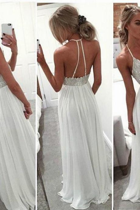 White Sheath/Column Spaghetti Straps Sleeveless Natural Backless Floor-Length Chiffon Prom Dresses 2017
