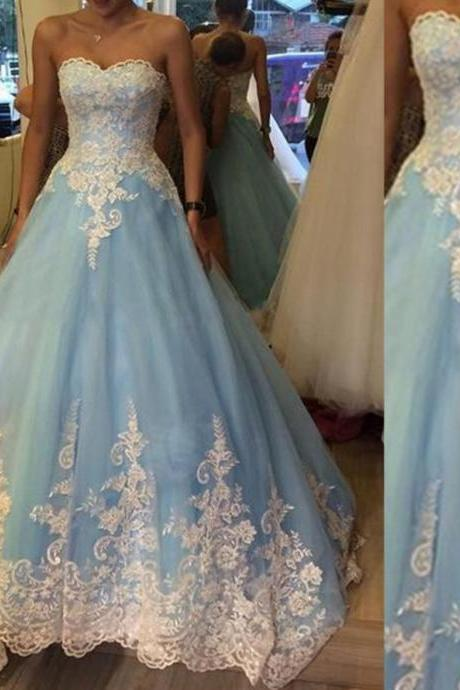 Blue Sweetheart Appliques Natural Ball Gown Tulle Prom Dresses 2017