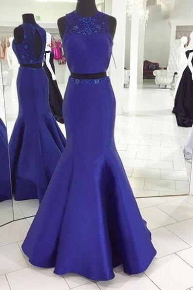 Blue Prom Dresses 2017 Round Neck Beading Mermaid Satin Two Pieces
