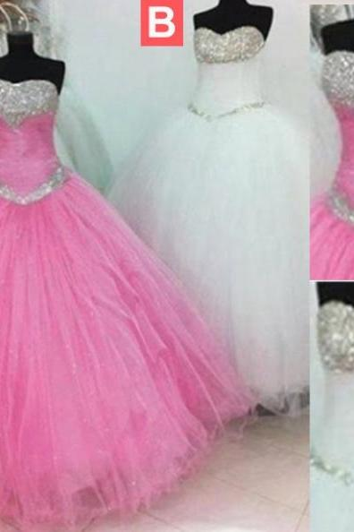 Long Ball Gown Sweetheart Beading Tulle Prom Dresses 2017