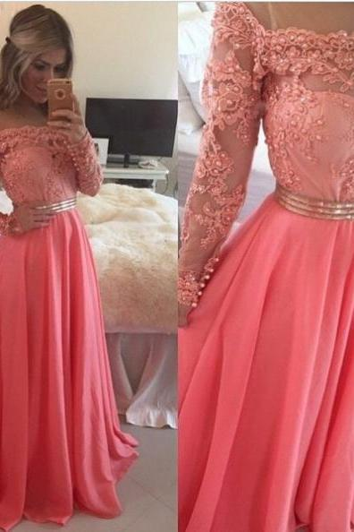 A-Line Off-the-Shoulder Pearl Detailing Chiffon Prom Dresses 2017