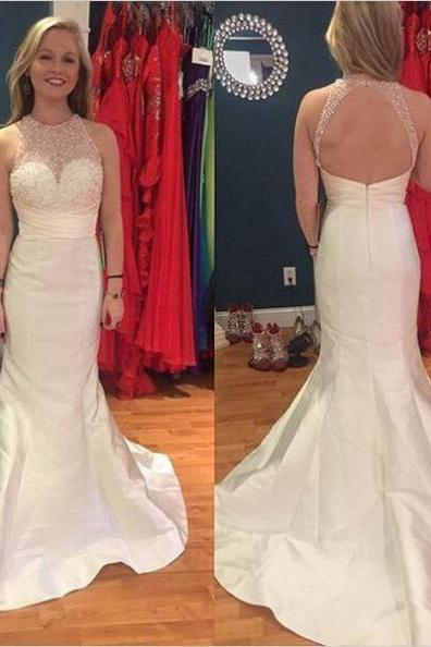 White Mermaid Sleeveless Natural Zipper Satin Prom Dresses 2017