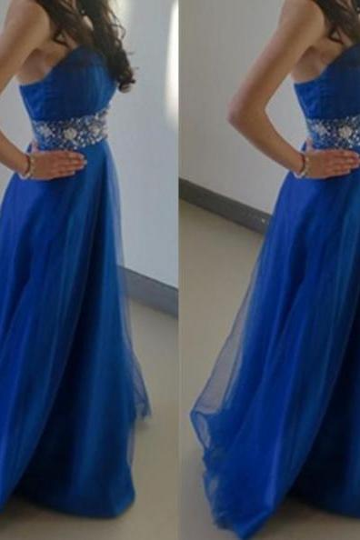 Blue Strapless Floor-length A-line Tulle Prom Dresses 2017
