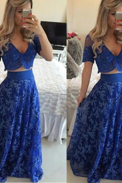 Blue Long A-line V-Neck Lace Two Pieces Prom Dresses 2017