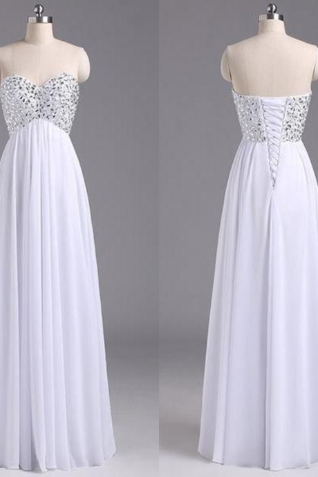 White Beading Sweetheart A-line Chiffon Prom Dresses 2017