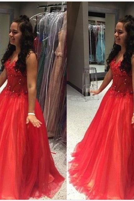 Red Beading Sleeveless Ball Gown Tulle Prom Dresses 2017