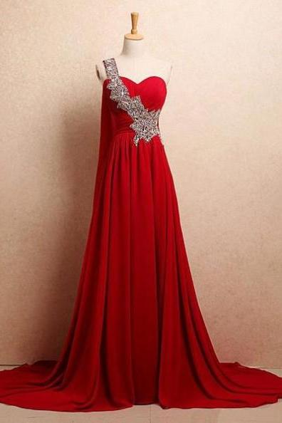 Red Long One Shoulder Sweetheart A-Line Chiffon Prom Dresses 2017