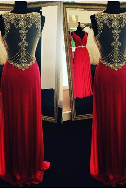 Red Beading Sheer Back Prom Dresses 2017