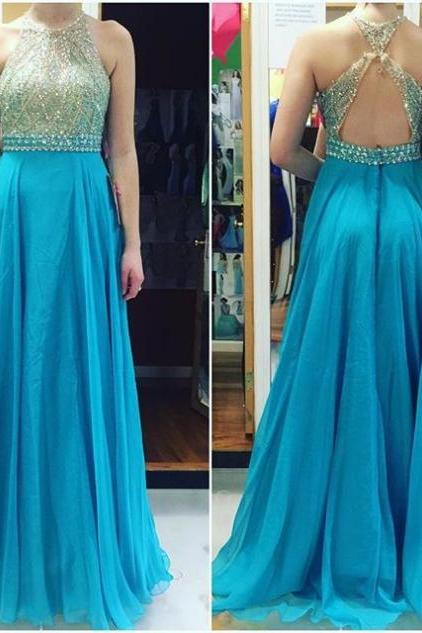 Blue Backless Crystal A-line Chiffon Prom Dresses 2017