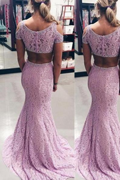 Beading Mermaid Lace Two Pieces Prom Dresses 2017
