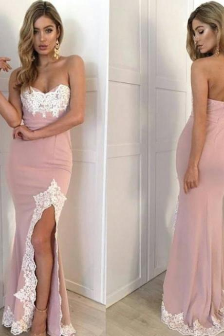 Appliques Sweetheart Sheath Satin Prom Dresses 2017