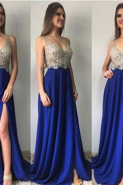 Blue Sheath/Column V-Neck Sleeveless Natural Zipper Floor-Length Chiffon Prom Dresses 2017
