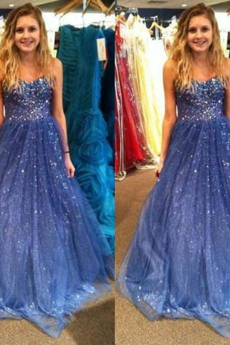 Blue Crystal Sweetheart A-line Tulle Prom Dresses 2017