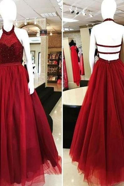 Red Halter Backless Beading Ball Gown Tulle Prom Dresses 2017