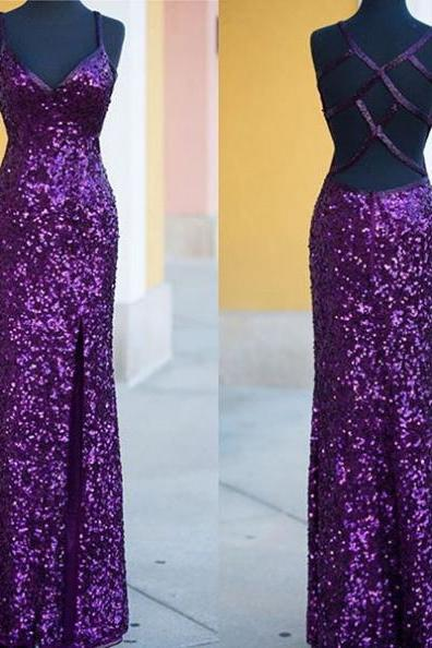Prom Dresses 2017 Spaghetti Straps Sheath Sequined