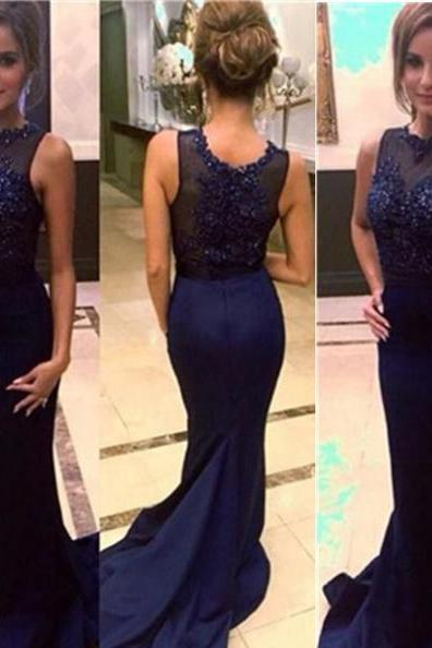 Blue Cheap Prom Dresses 2017 Long Trumpet/Mermaid Embroidery Satin