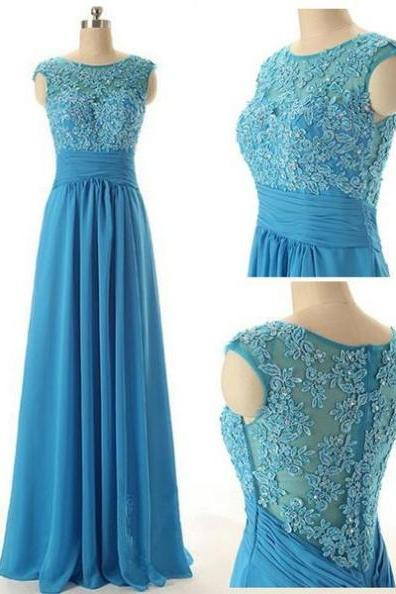 Blue Long A-Line Zipper Appliques Chiffon Prom Dresses 2017