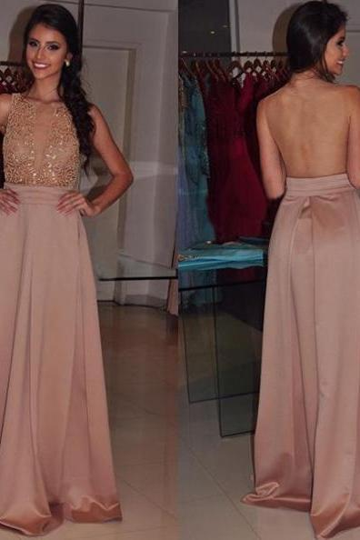Sheer Back Beading A-line Satin Prom Dresses 2017