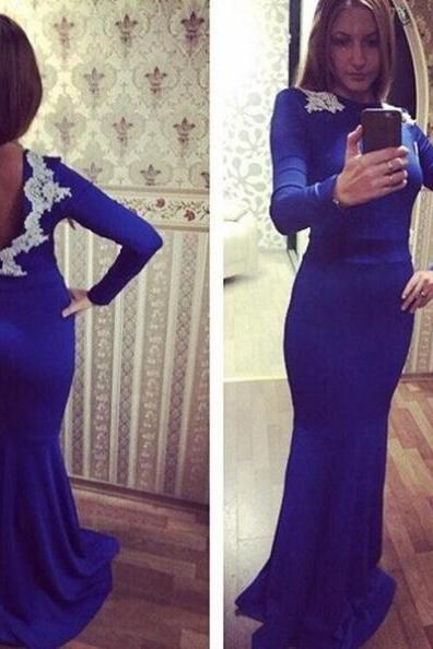 Royal Blue Appliques Mermaid Satin Prom Dresses 2017
