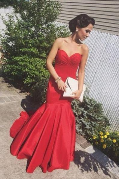 Red Sweetheart Sweep-Train Mermaid Satin Prom Dresses 2017