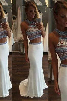 White Trumpet/Mermaid Halter Sleeveless Natural Zipper Sweep/Brush Train Chiffon Prom Dresses 2017
