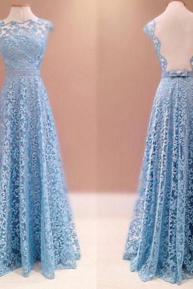 Blue Bow Backless A-line Lace Prom Dresses 2017