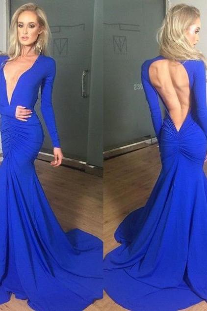 Blue Sexy V-Neck Backless Trumpet/Mermaid Stretch Satin Prom Dresses 2017
