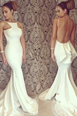 White Trumpet/Mermaid Halter Sleeveless Natural Backless Satin Chiffon Prom Dresses 2017