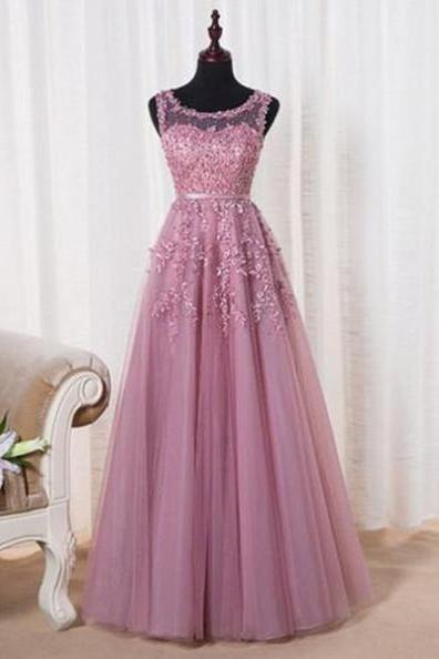 A-Line Sleeveless Natural Prom Floor-Length Tulle Prom Dresses 2017