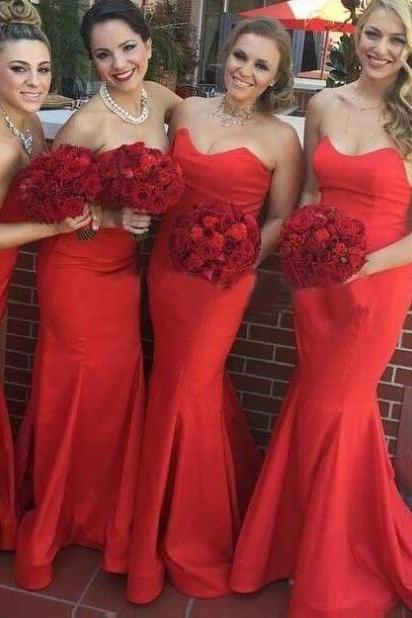 Red Sweetheart Floor-length Sleeveless Mermaid Prom Dresses 2017