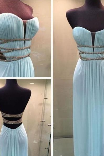 Blue Ruching Lace-Up Sweetheart Chiffon Prom Dresses 2017