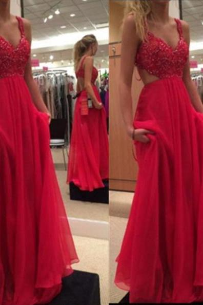Red A-Line Spaghetti Straps Sleeveless Sweep/Brush Train Chiffon Prom Dresses 2017