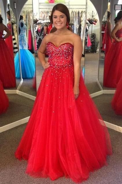 Red Prom Dresses 2017 Sweetheart Beading Ball Gown Tulle